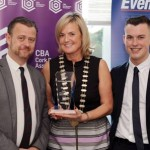 REPRO FREE 06/11/2015 Claire Nash President Cork Business Association presenting the Tourism, Arts & Accomodation Award to Eoin Daly and David Dunlea of 'The Ambassador Hotel' at the CBA Cork Better Building Awards 2015 presentation lunch at the Hayfield Manor, Cork. Photo: Billy macGill