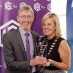REPRO FREE 06/11/2015 Claire Nash President Cork Business Association presenting the Pub Award to Robert Crowley of 'Callanans Pub, Georges Quay' at the CBA Cork Better Building Awards 2015 presentation lunch at the Hayfield Manor, Cork. Photo: Billy macGill