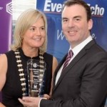 REPRO FREE 06/11/2015 Claire Nash President Cork Business Association presenting the Commercial Business Frontage Award to Marc Cullen of 'The Cork English College' at the CBA Cork Better Building Awards 2015 presentation lunch at the Hayfield Manor, Cork. Photo: Billy macGill