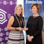 REPRO FREE 06/11/2015 Claire Nash President Cork Business Association presenting the Cafe/Restaurant Award to Judy Howard of 'Elbow Lane' at the CBA Cork Better Building Awards 2015 presentation lunch at the Hayfield Manor, Cork. Photo: Billy macGill
