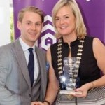 REPRO FREE 06/11/2015 Claire Nash President Cork Business Association presenting the Retail Award to Wayne Greene-Salm of 'Salingers' at the CBA Cork Better Building Awards 2015 presentation lunch at the Hayfield Manor, Cork. Photo: Billy macGill