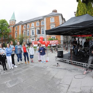 Rapper Lloyd Hogan performing at the Rap-a-mile gig with GMC Beats on Emmet Place part of the Feel Good Friday party day in Cork. The event takes place on the last Friday of every month. Photo Billy macGill