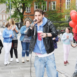 Rapper GMC performing at the Rap-a-mile gig with GMC Beats on Emmet Place part of the Feel Good Friday party day in Cork. The event takes place on the last Friday of every month. Photo Billy macGill