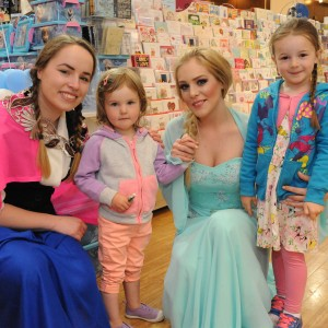 Phoebe and Sophie Purcell from Carrigtwohill Co. Cork with Elsa and Anna from Frozen at Merchants Quay S.C. part of the Feel Good Friday party day in Cork. The event takes place on the last Friday of every month. Photo Billy macGil