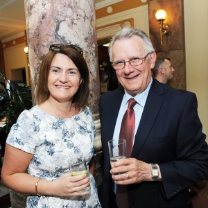 Mary Tatten (AIB Branch Manager Wilton) and Pat Casey (Casey Communications) at the Cork Business Association afterhours briefing on developments in Cork at AIB South Mall, Cork. Photo Billy macGill