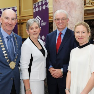 CBA President Pat O'Connell, Ann Doherty CE Cork City Council, John O'Doherty Regional Director AIB and Sarah McKeown Commercial Executive Port of Cork at the Cork Business Association afterhours briefing on developments in Cork at AIB South Mall, Cork. Photo Billy macGill