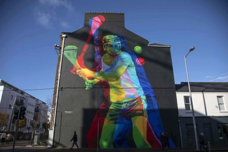 Mural of a Hurley Player in Cork City