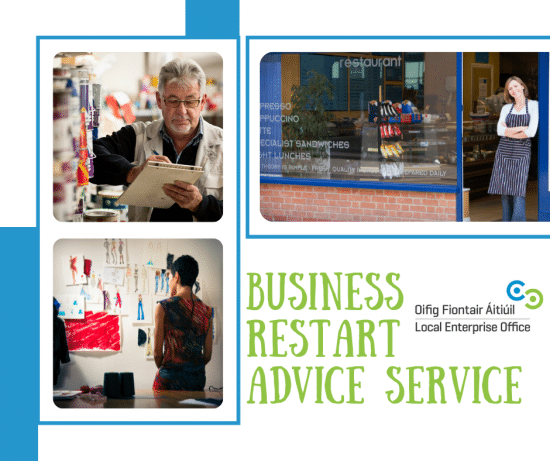 Ad for business restart advice service from Local Enterprise Office Cork