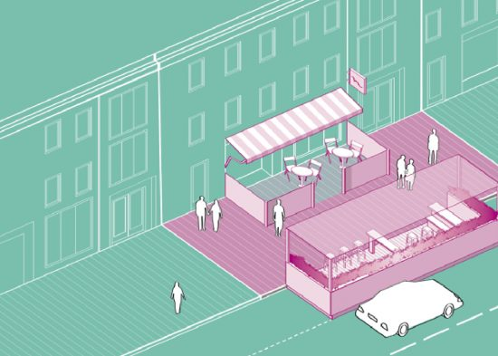 Illustration from the Best Practice and Guidelines Outdoor DIning and Urban Animation brochure Failte Ireland