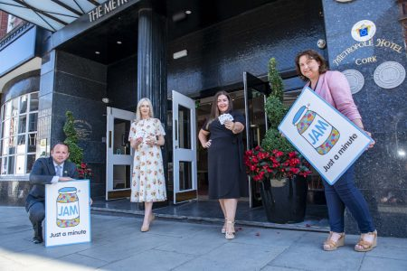 Key stakeholders standing outside the Metropole Hotel Cork City to launch the receipt of their JAM card certification