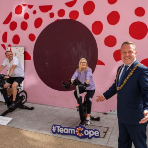Lord Mayor with Aaron Mansworth doing the spinathon for the Cope Foundation on Harlem Street.