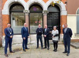 Pictured (L-R): CBA President Eoin O'Sullivan, MInister for Foreign Affairs, Simon Coveney TD, CBA Chairman Pat O'Connell; CBA Vice-President Kevin Herlihy; CBA Business and Communications Manager Helen Murphy; CBA Executive Member Aaron Mansworth.
