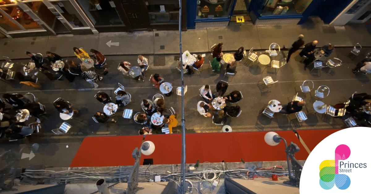 Princes Street Outdoor Dining Cork City arial image